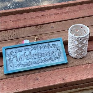 Welcome Sign and Electric Candle for Outside